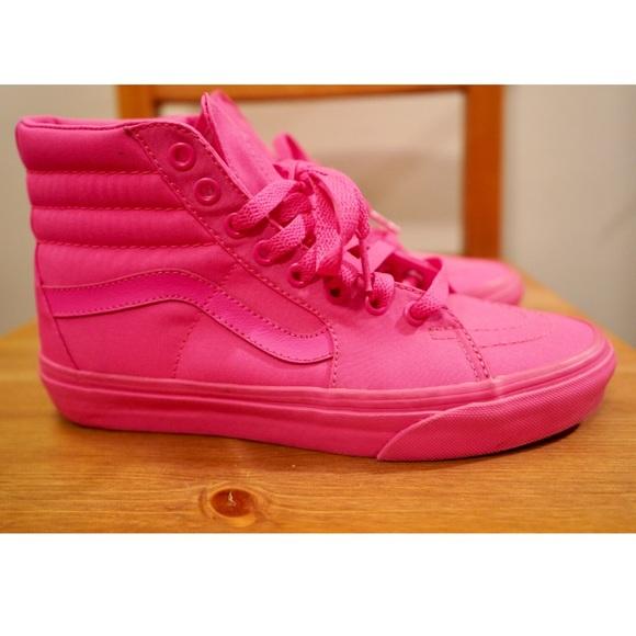 Vans Shoes | Hot Pink High Top Vans